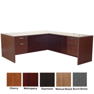 Ultra L-Shape Double Pedestal Executive Desk - Mahogany Finish