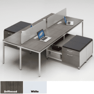 Values 2 x 2 Four Person Workstation Benching Units - Driftwood - 2 Color Finishes