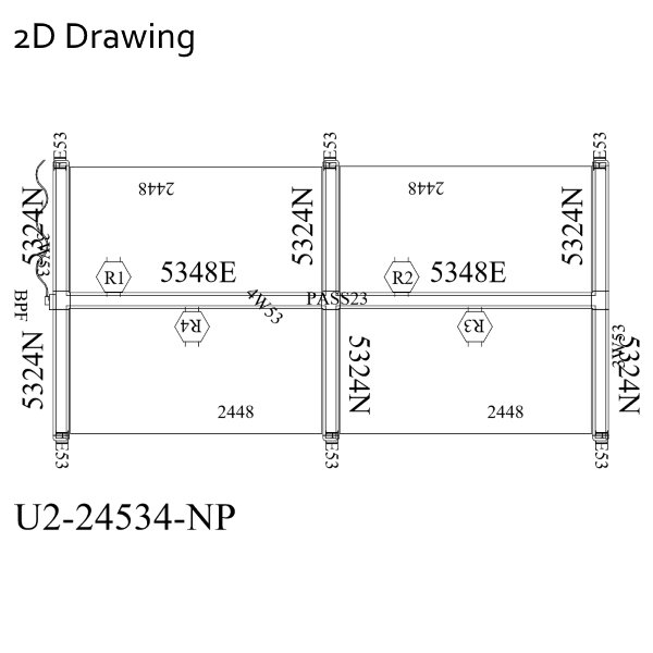 2D Drawing 4 Pack 2x2 Workstations Ultra 2 Cubicles
