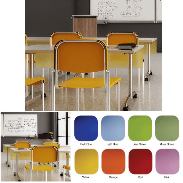 Colored Frosted Acrylics - 8 Color Finishes - Classroom Setting - Modesty Panel Mount