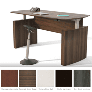 Mayline Medina Height Adjustable Curved Front Desk - Textured Brown Sugar