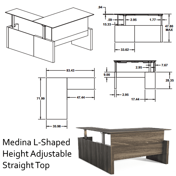 Adjustable Straight Front Desk & Return -2D