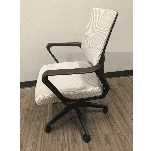 Gray Mesh Chair with Gray Fabric Seat - Side