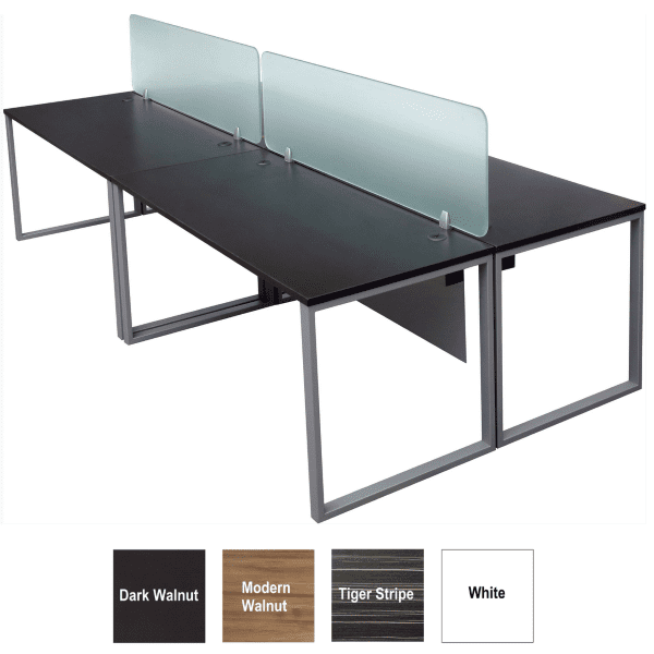 Express Lair 2x2 4 Person Workstation Benching with glass