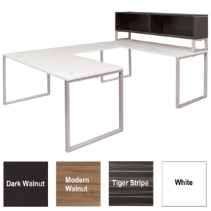 Express Lair Open U-Shaped Desk with Low Storage Hutch