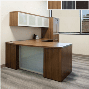 Status Bow Glass Front L-Shape Desk - Recantgular 90-Degrees