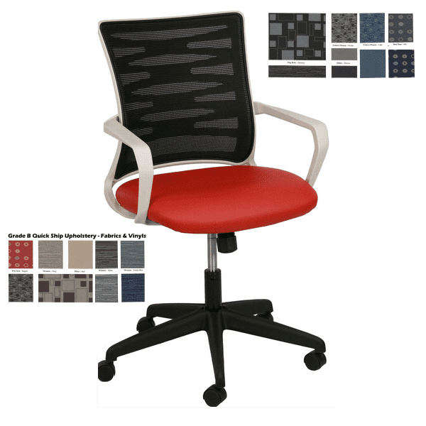 KB-2022 BLACK Mesh Back Task Chair - Light Gray Frame - Red Seat