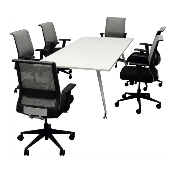Shows a Concept with Luna Table with HU-X15 Silver Mesh with Black Seat Chairs