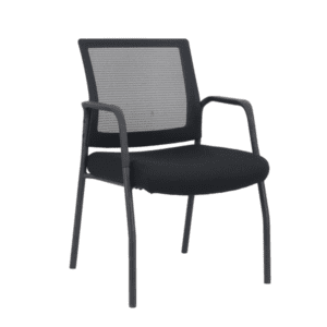 Black Frame Visitors Chair with Arms and Black Mesh Back