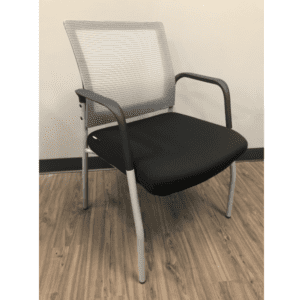 MI1500S Silver Frame Visitors Chair with Arms and White Mesh