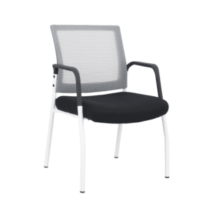 White Frame Visitors Chair with Arms and White Mesh Back