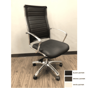 High Back Leather Chair - Black - Brown - White - Aluminum Armrest