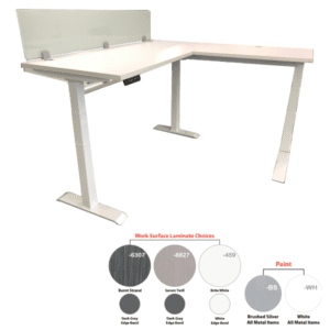 Sit to Stand Lift iT L Shape Workstation White with 12 Inch Frosted Glass Screen