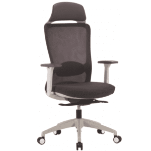 Charcoal Mesh Back Headrest Task Chair with Charcoal Fabric Seat - Light Gray Frame