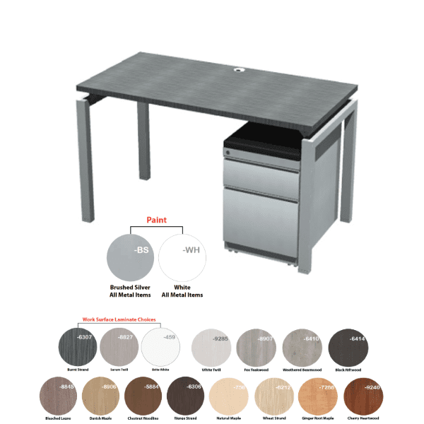 24 Inch Deep x 48 Inch Wide Bench iT Executive Desk Brushed Silver Base Burnt Strand - 16 Colors