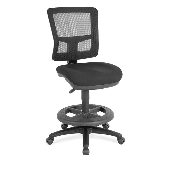 Armless Mesh Drafting Task Stool with Black Frame