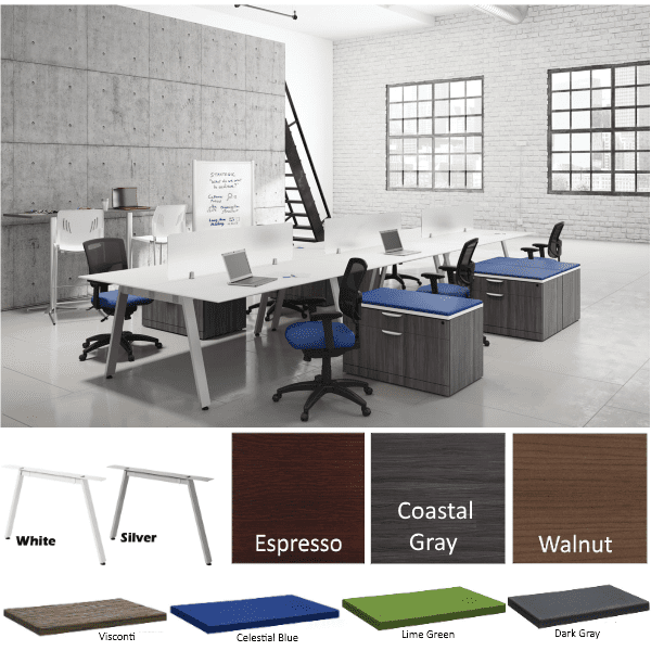 Bevel 18' 6 Person Workstations