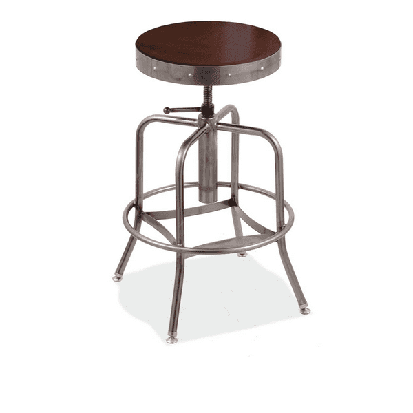 Adjustable Height Stool with Clearcoat Dark Cherry Wood