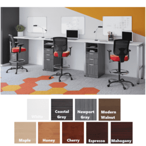 Three Person Standing Height Benching Workstations