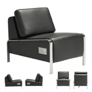 Black Leather Charging Chair