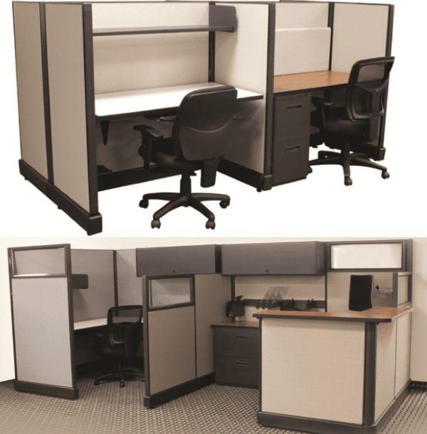 In-Stock 6′ x 6′ 4-Pack Glass Cubicles Group – 2 Fabrics