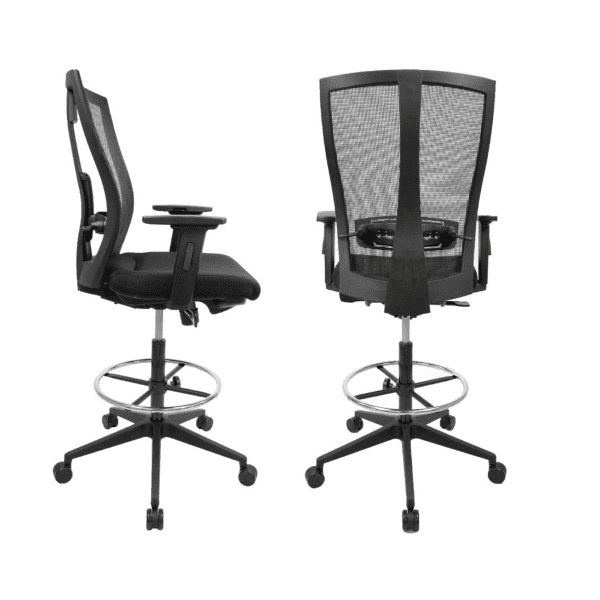 Razor Mesh Back Drafting Stool - Side and Rear