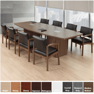 10' Boat Shaped Conference table with cubed bases