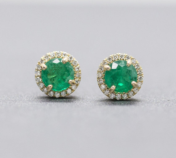 Emerald and Diamond Halo Earrings in 14k Rose Gold