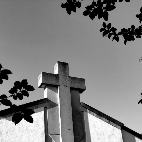 church cross with trees 539x539 B&W
