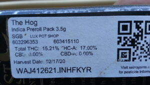 """The label of a cannabis package containing """"The Hog"""""""