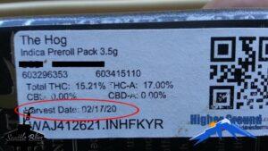 Cannabis label highlighting harvest date