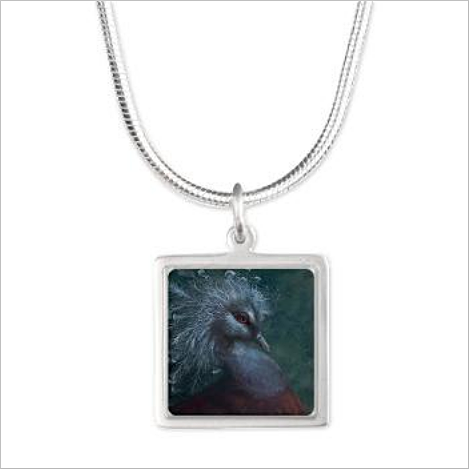 Victorian Crowned Pigeon Square Pendant