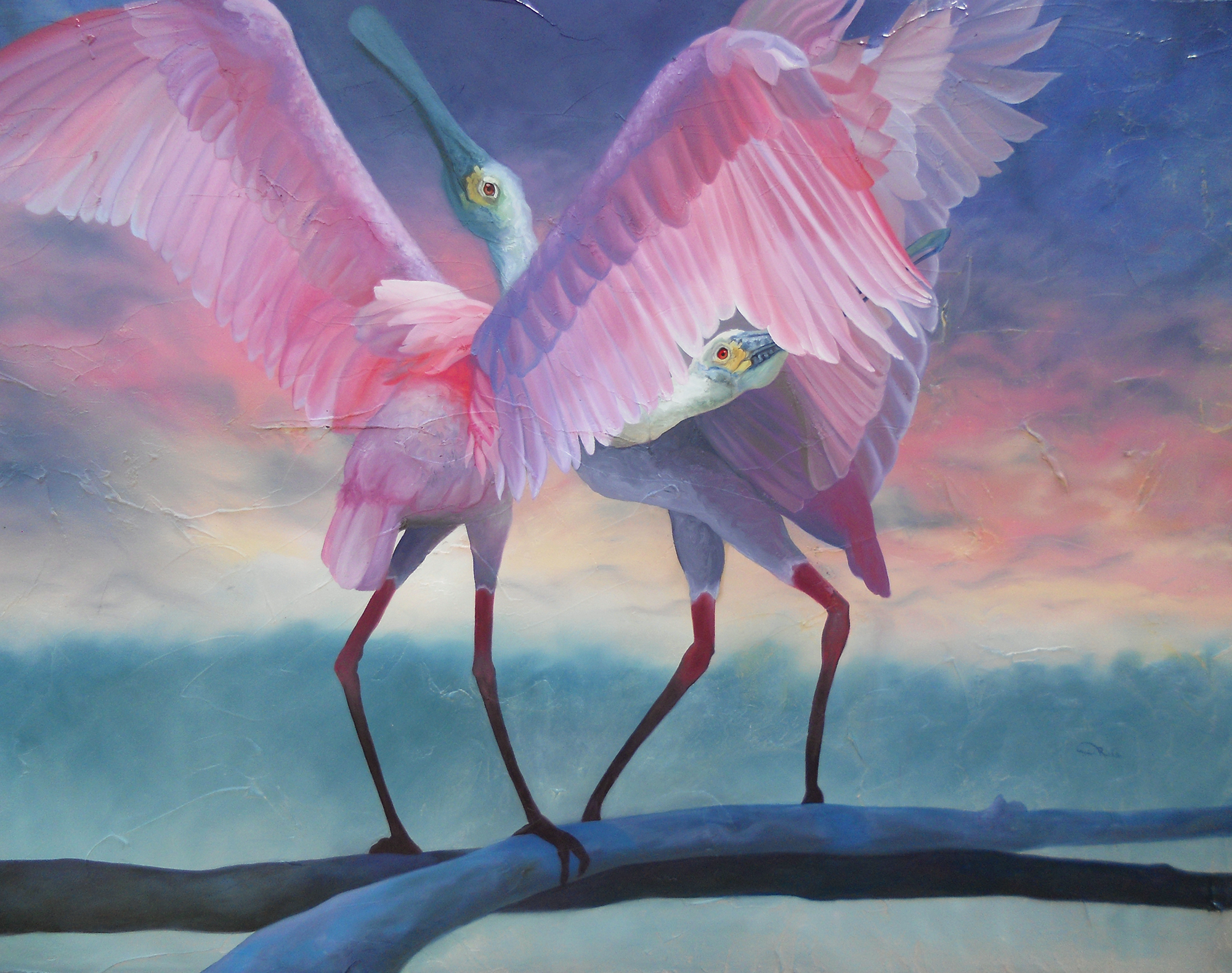 """""""Private Chatter"""" - Roseate Spoonbills Speaking with Exaggerated Posturing - an oil painting original artwork by professional artist Allison Richter"""