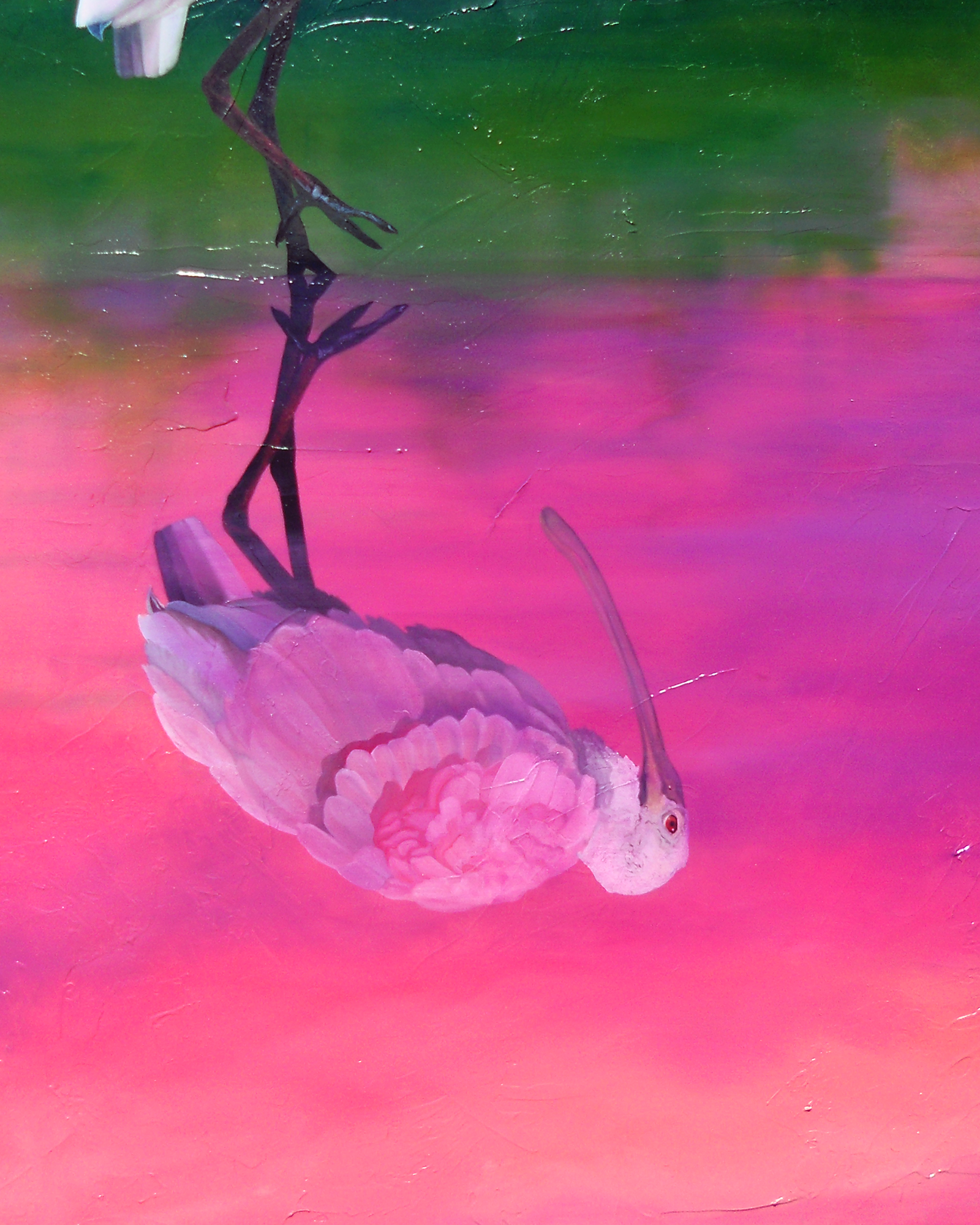 """""""Pinapple Cake"""" - Roseate Spoonbill reflecting - an oil painting original artwork by professional artist Allison Richter"""
