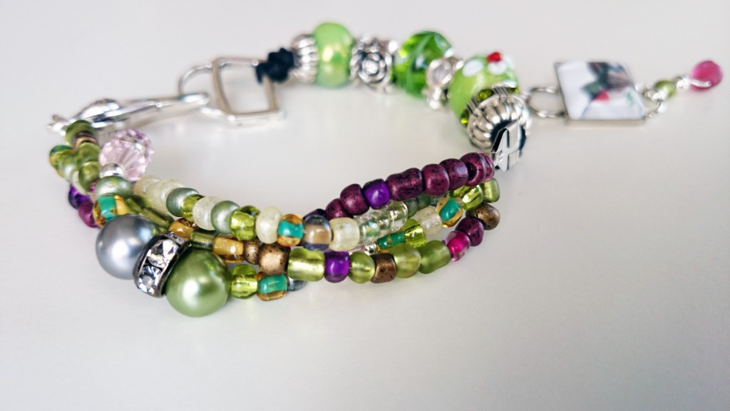 Hummingbird Beaded Silver & Glass Mini-Artwork Print Charm Bracelet