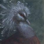 "Original Wildlife Bird Art Oil Painting - ""Good Hair"" h 8 x w 8 for Sale"