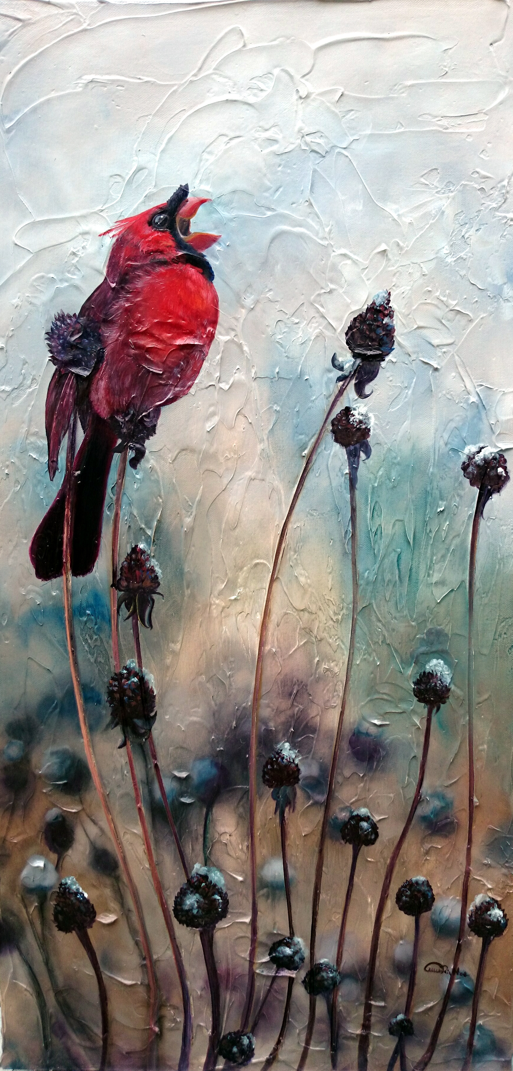 Oil on Canvas Northern Cardinal in Snow with Wildflowers by Allison Richter