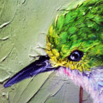 Wildlife Bird Oil Painting - Cuban Tody Progress