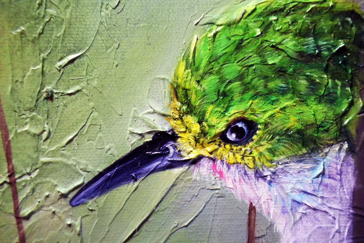 Wildlife Bird Oil Painting - Cuban Tody Progress