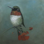"""In Tune"" Ruby Throat Hummingbird Oil on canvas for Sale"