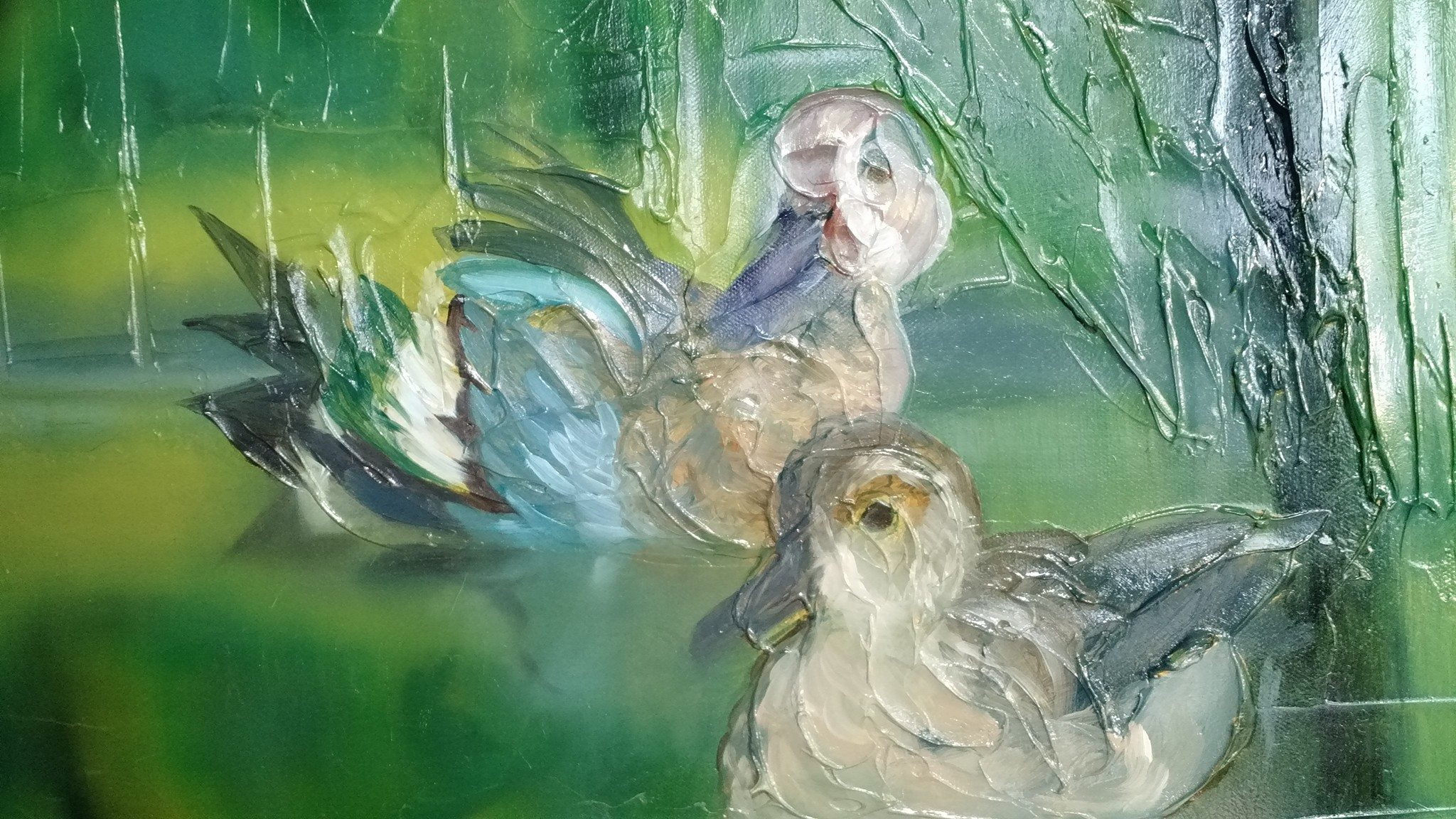 Blue Wing Teals Oil Painting in Progress