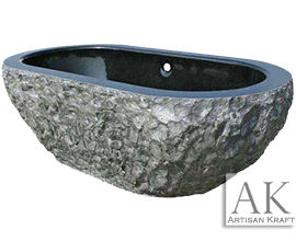Absolute Black Stone Double Ended Oval Tub