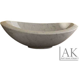 Double Slipper Italian Carrera Bathtub | Marble Freestanding
