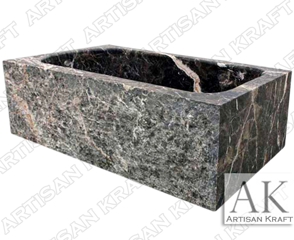 Rectangular Dark Emperador Marble Bath Tub
