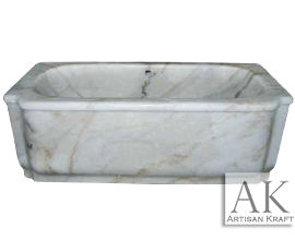 White Marble Rectangular Bath Tub