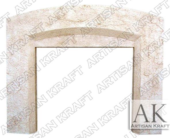 Beveled-Arch-Cast-Stone-Fireplace-Mantel