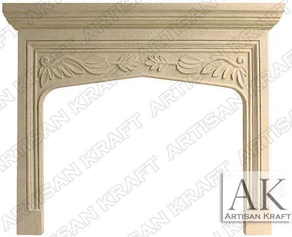 English-Traditional-Tudor-Limestone-Fireplace-Mantel