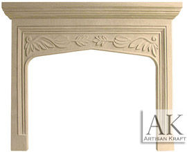 English Traditional Tudor Limestone Fireplace