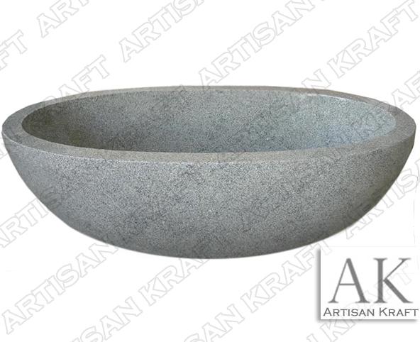 Gray Granite Oval Bathtub freestanding