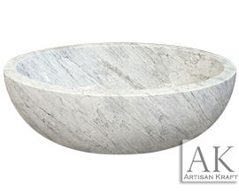 Oval Marble Bathtub | White Marble Tub